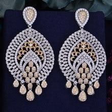 GODKI 68mm Luxury Popular Geometry Drop Full Mirco Cubic Zirconia Naija Nigeria Wedding Earring Fashion Jewelry