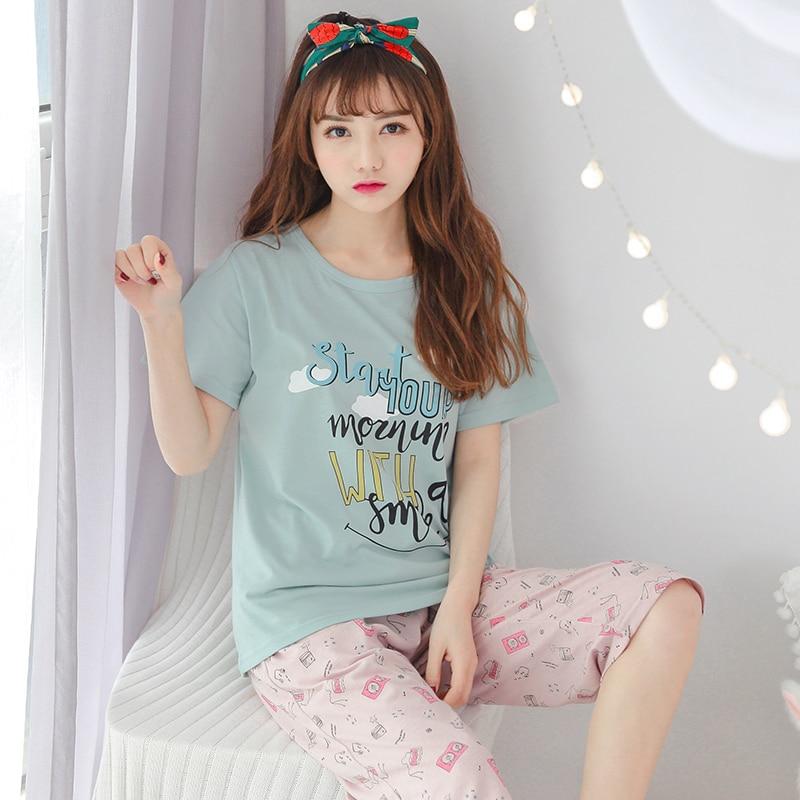 New Sale Summer 100%Cotton Women Short Sleeve Pajamas Set Letter Pattern Round Neck Big Size M-XXL Female Homewear Clothing