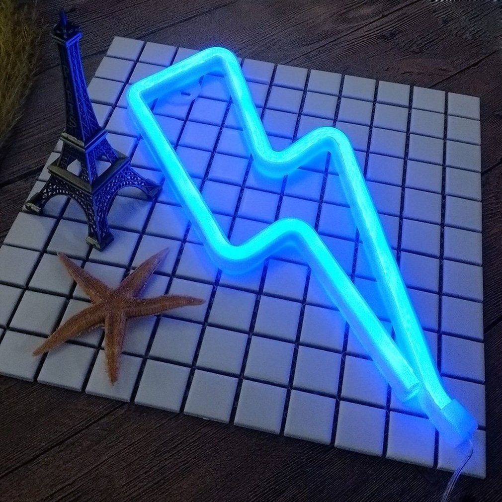 Thunder Shape LED Night Light Wall Hanging Neon Light for Festival Party Night Club Wedding Decoration Light Drop Shipping ropio love letters shape led night lights table lamp wall hanging neon light for festival wedding party decoration lighting