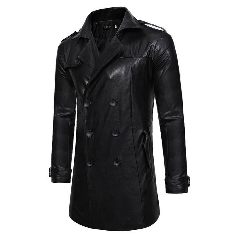 Autumn And Winter New Double-Breasted Multi-Pocket Single Large Lapel Men's Casual Slim Long Leather Trench Coat Warm