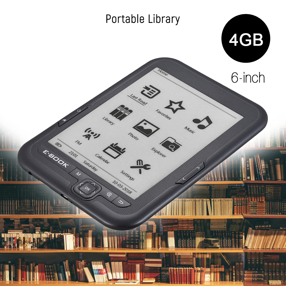 4GB 6 inch E reader E ink Screen MP3 Player with Turn Page Buttons Leather Case
