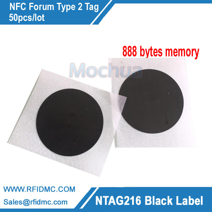 Black NFC NTAG216 Label Sticker Tag Protocol ISO14443A 888 Bytes 30mm Diameter For All NFC Phones