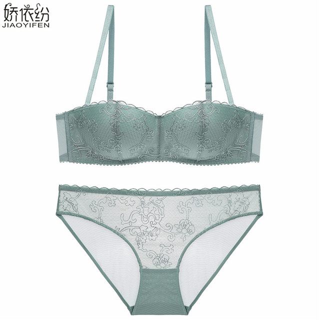 809009f2f91 Push up bra sexy lace 1 2 cup bra set embroidery pattern french underwear women  Transparent sexy lace panty plus size lingerie