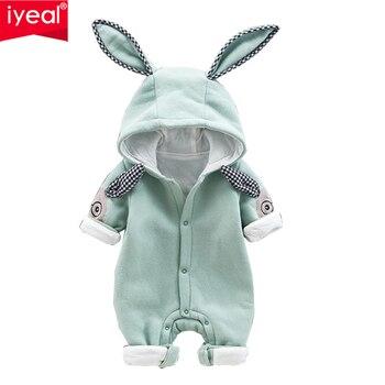 IYEAL/Новейшие милые детские комбинезоны с капюшоном и заячьими ушками для маленьких мальчиков и девочек Одежда для новорожденных Детский ко...