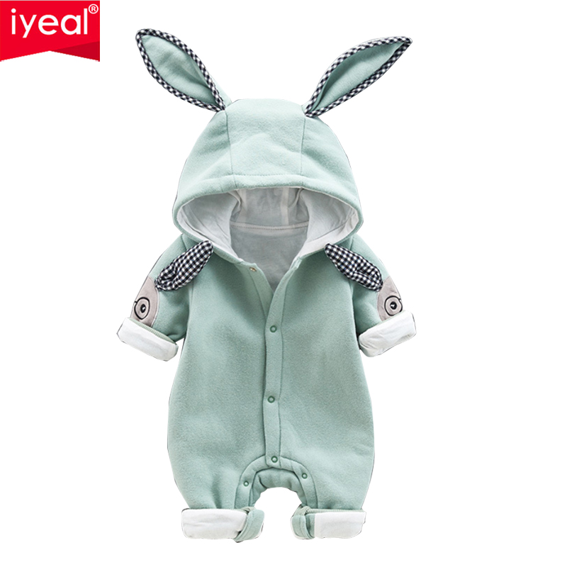 IYEAL Newest Cute Rabbit Ears Hooded Baby Rompers For Babies Boys Girls Clothes Newborn Clothing Infant Jumpsuit Baby Outfit цена