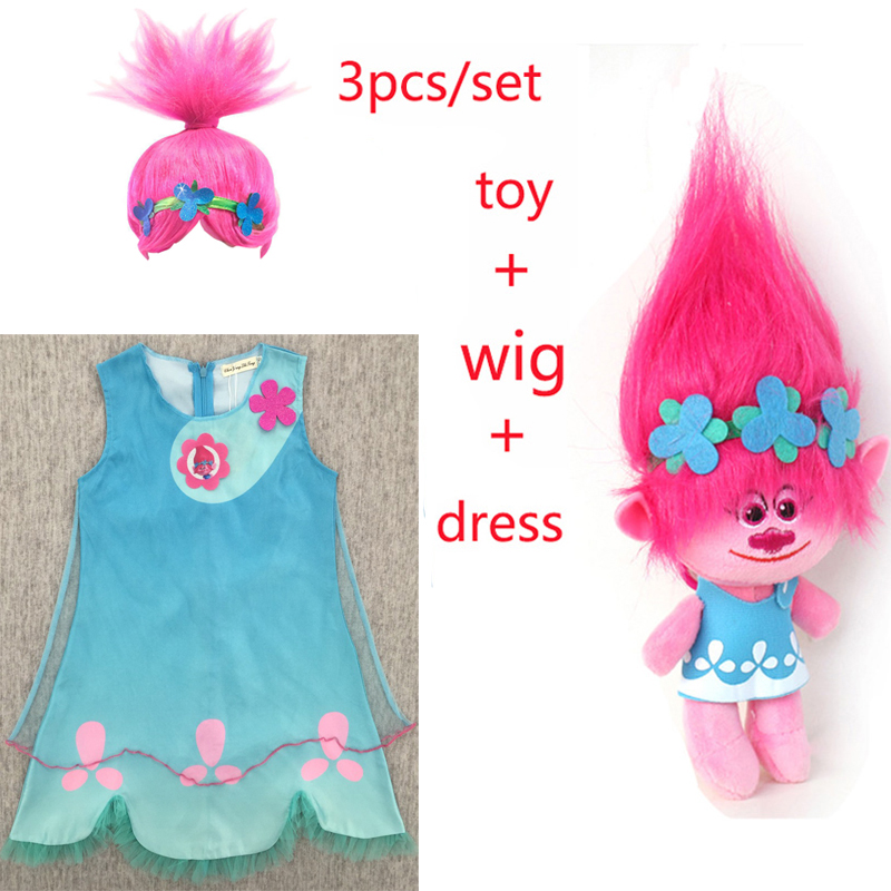 f6b3880d0ea Αγορά Κορίτσια ' ρούχα | Children trolls Dress toy Costumes Girls Summer  dress For Party Kids poppy lace Dresses Princess Dress Vaiana Party Vestido
