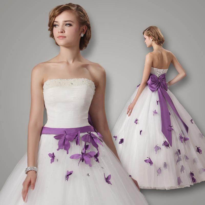 robe de mariage ball gown white and purple wedding dress 2016 ribbon bow waist bride bridal