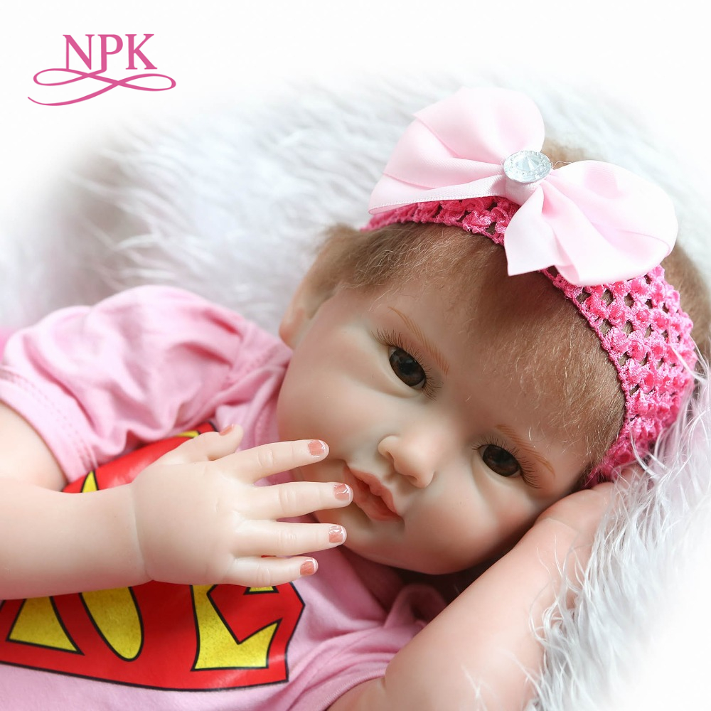 NPK 55cm soft Silicone reborn baby dolls toys Lifelike Toddler Babies Girl Doll Reborn vinyl doll for girls gifts toy for kids silicone vinyl reborn baby doll toys lifelike soft doll reborn babies pink princess toys for childs kids new design