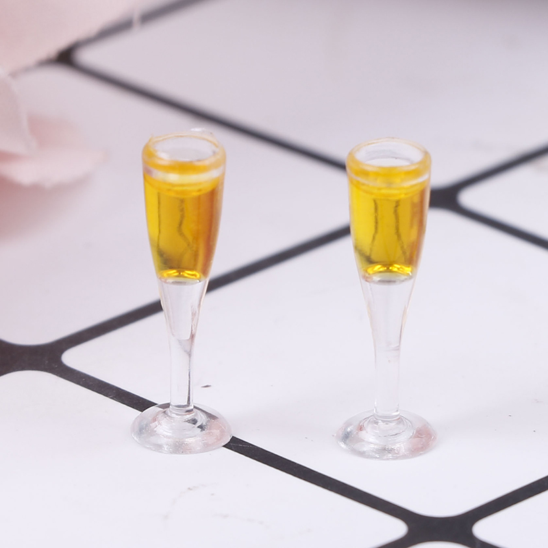 2pcs 1/12 Resin Dollhouse Mini Champagne Water Cup Miniature 1:12 Dollhouse Accessories Cups Toy Mini Decoration Gifts