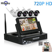 Hiseeu Wireless NVR IP Camera 7 Inch Displayer 4CH 720P Wireless CCTV System IR CUT Bullet
