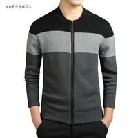 Varsanol Brand Clothing Knitted Cardigan Mens Sweater Fashion O Neck Striped Slim Fit Knitting Sweaters And
