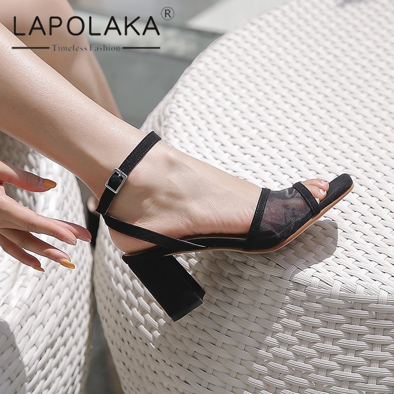 Lapolaka 2019 New Fashion Kid Suede Peep Toe Summer Sandals Woman Shoes Buckle Strap Black Blue Shoes Woman Sandals FemaleLapolaka 2019 New Fashion Kid Suede Peep Toe Summer Sandals Woman Shoes Buckle Strap Black Blue Shoes Woman Sandals Female