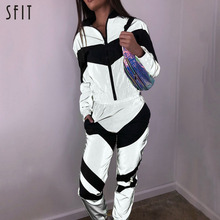 SFIT Women Tracksuits 2 Piece Set Reflective Zipper Crop Top