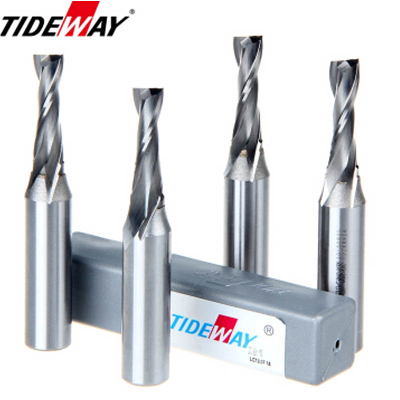 Tideway 1pcs TCT 2 Flutes Spiral Milling Cutter Metric End Mill Woodworking Slot Grooving Trimming Engraving Router Bits