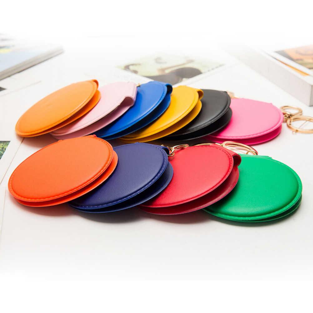 1PCS Portable Candy Color Mini PU Leather Pocket Makeup Mirror Key Chain Cosmetic Compact Mirrors Double Dual Sides Frame Girl