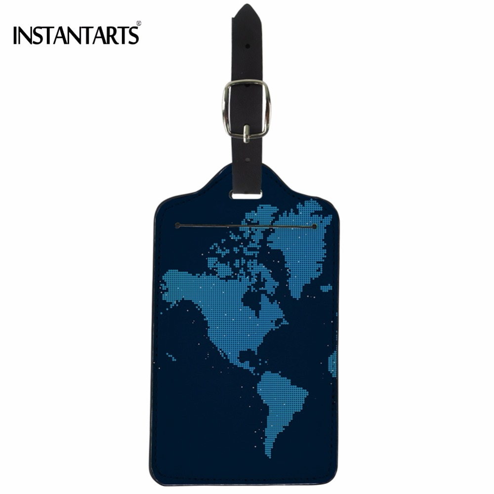INSTANTARTS Fashion Travel Accessories World Map Printing Luggage Tags Baggage Boarding Tag For Trolley Suitcase Portable Label