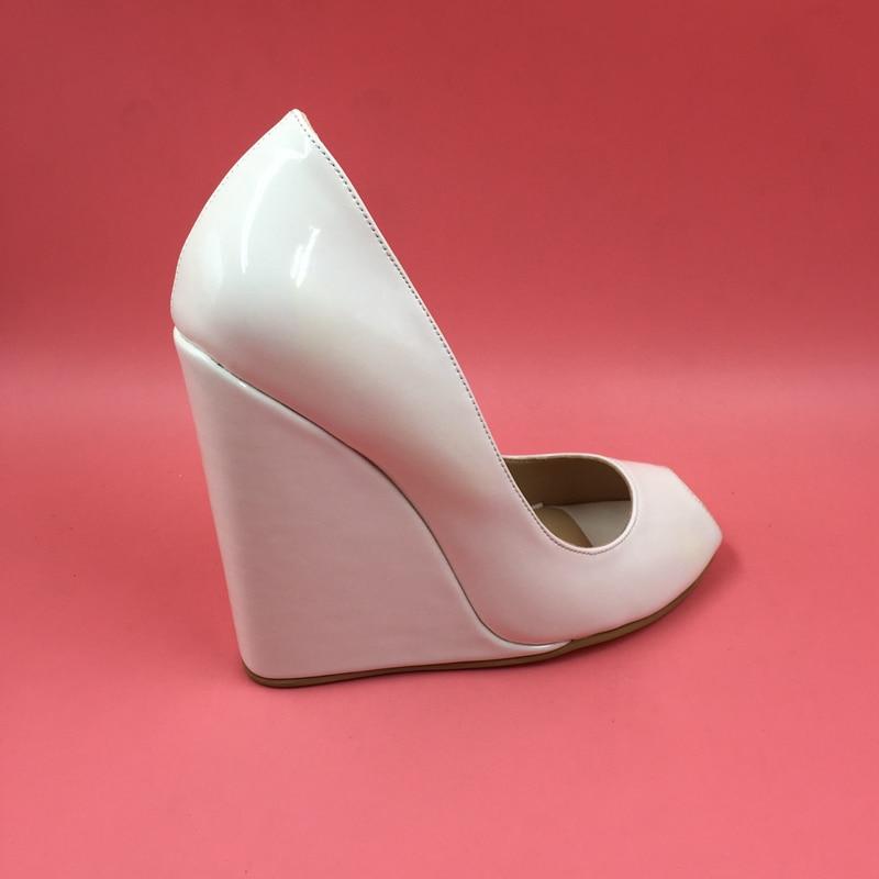 ФОТО White Women Pump With Wedge Heels Platforms Peep Toe Bridal Pumps Cover Heel Slip-ons Patent Leather Custom Heel Bottoms