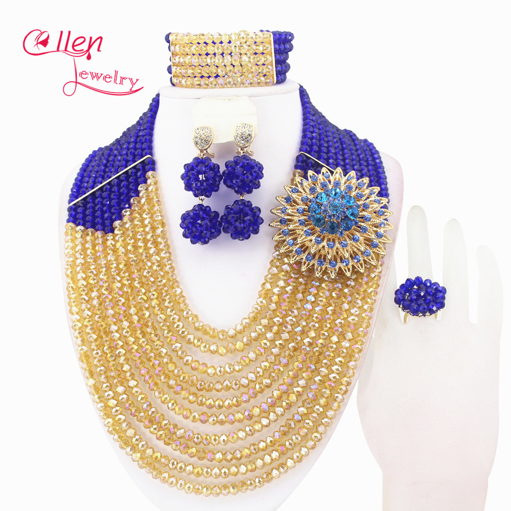 Big Promotion African Beads Jewelry Set Nigerian Wedding African Jewelry Sets Crystal Beads Jewelry Sets HDW04