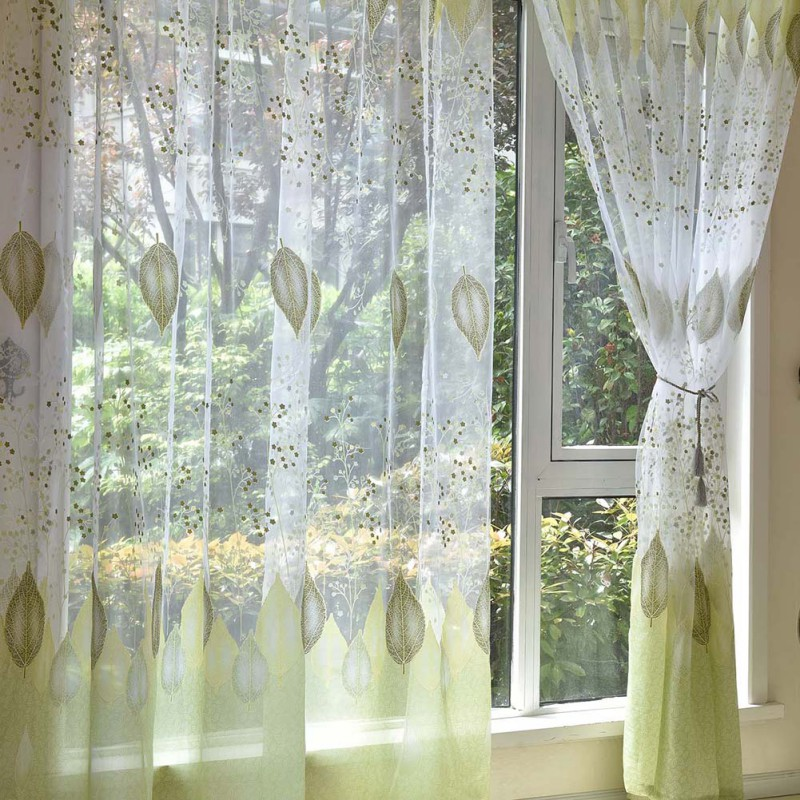 US $4.58 31% OFF|Roman Curtains Floral Print Sheer Curtains Kitchen White  Sheer Office Short Tulle Window Door Curtain-in Curtains from Home & Garden  ...