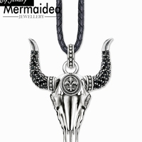 Bull Skull Leather Necklace Party Style Cool Fashion Good Jewelry Women 2019 Gift In 925 Sterling Silver Super Deals