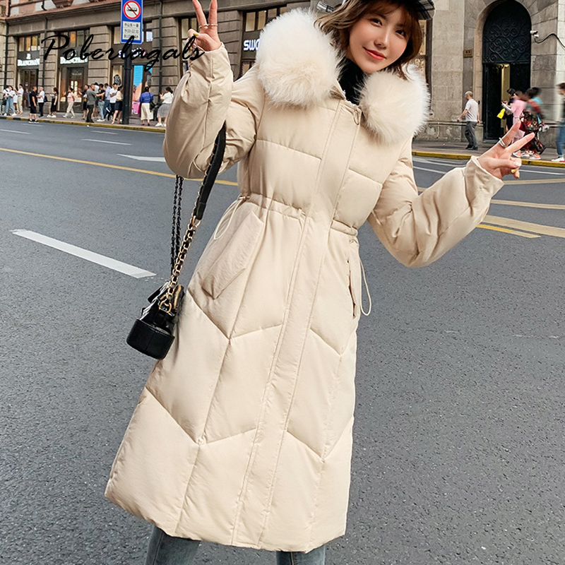 Winter jacket   parkas   2019 autumn women Korean cotton-padded jackets coat women's thick fur collar warm waist long coat   parka