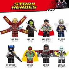 Super Hero Infinito Figura Guerra Homem De Ferro Avengers Doutor Estranho Falcon Proxima Noite Bucho de Ébano Conjunto de Blocos de Construção de Brinquedos X0187