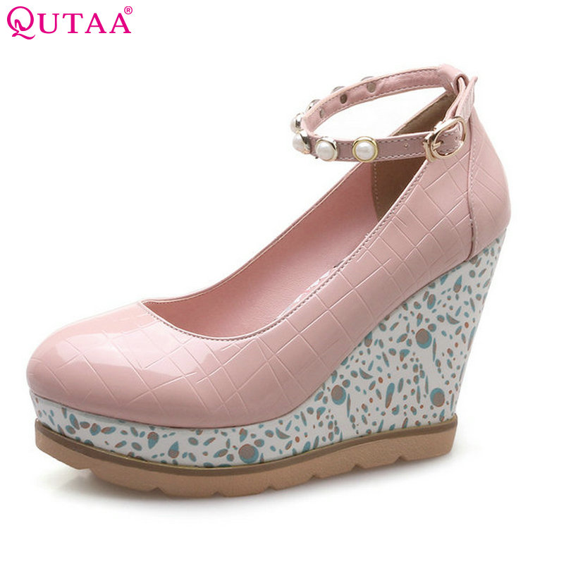 QUTAA 2018 Women Pumps PU Leather Woman Shoes Platform Wedge High Heel String Bead Buckle Ladies Wedding Pumps Size 34-42 size 34 43 pu patent leather wedge low heel ladies spring shoes woman pump mixed color white rivet ladies wedding shoes