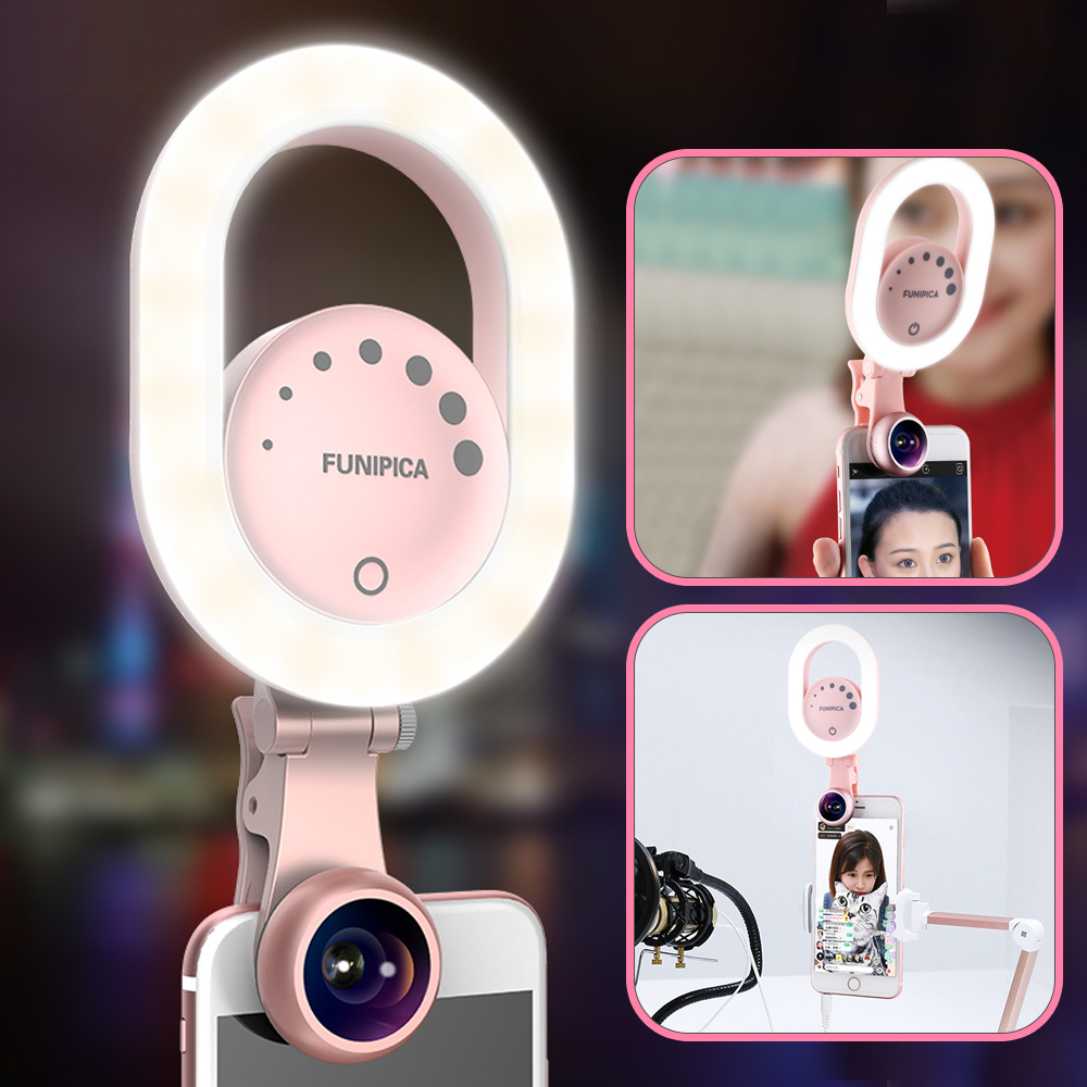 Ulanzi Live Stream Selfie Light with Wide Angle Lens Clip-on Rechargeable LED Ring Light for iPhone X/8/7 Plus Smartphone Tablet