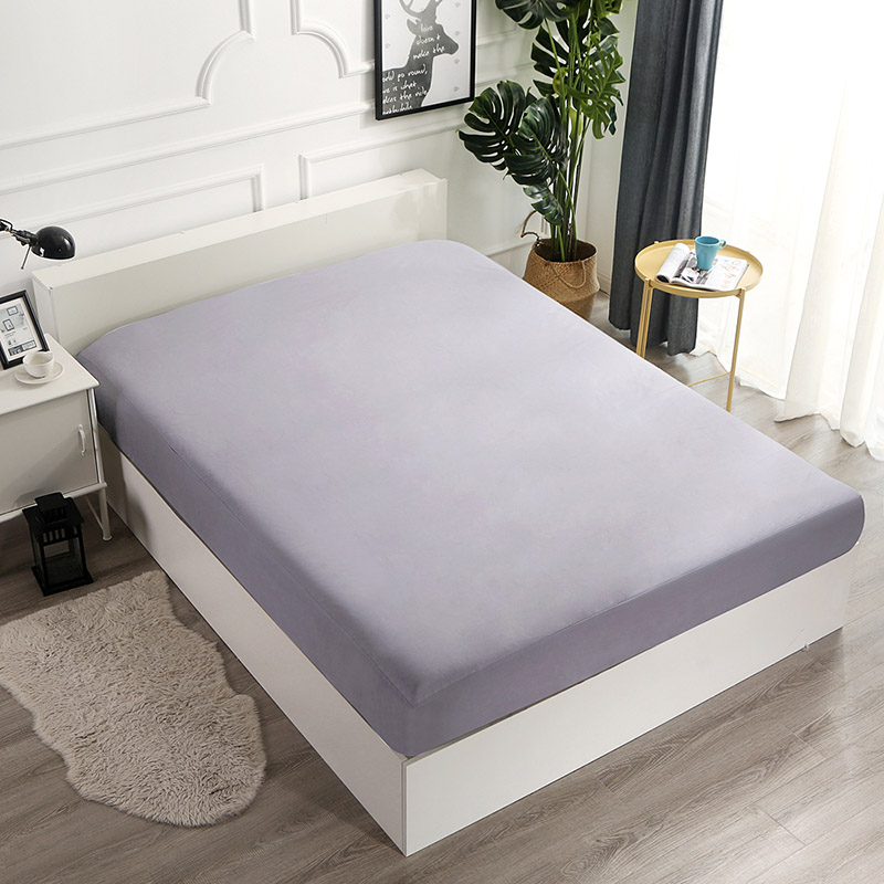 Monily Mattress Protector Covers Waterproof Queen King Size Bedroom Fitted Sheet Solid Color Polyester Bed Sheet Bed Pad Linen