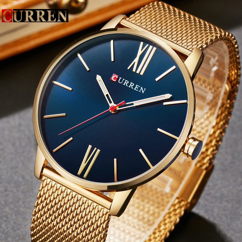 CURREN Gold Quartz Man Watch Men Watches Stainless Steel Golden Watches Male Wristwatch Clock Men Hodinky Relogio Masculino 8238 golden silver transparent hollow dial quartz men wrist watch stainless steel band casual sport watches man analog male clock gif