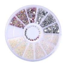 100pcs Nail Crystal AB Drop Design Rhinestones Glass Flat Back 3D Diamond Paillette Nail Art Decorations Wheel D1367