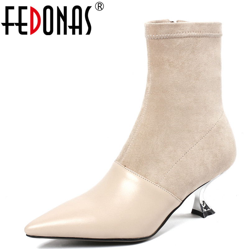 FEDONAS New Women Ankle Boots Genuine Leather Autumn Winter Warm Basic High Boots Party Socks Boots High Heels Shoes Woman fedonas fashion women winter ankle boots high heels zipper genuine leather shoes woman dress party riding boots warm snow boots