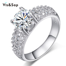 White Gold plated Wedding rings For Women AAA cz diamond size 5 10 vintage Engagement anel
