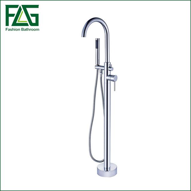 New Arrival Bathroom chrome finishing Floor Stand Faucet Round ...