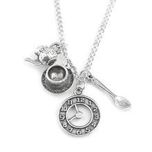 Alice in Wonderland Antique Silver Necklace Ancient Silver Coffee Cup W