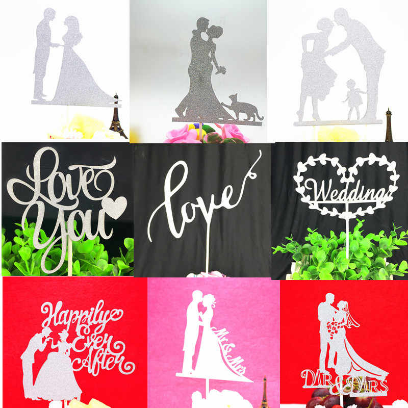 Cake Topper Bride Groom Love You Heart Kiss Glitter Cake Cupcake Toppers Wedding Cake Flags For Kids Birthday Party Cake Toppers
