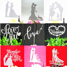 Cake Topper Bride Groom Love You Heart Kiss Glitter Cupcake Toppers Wedding Flags For Kids Birthday Party