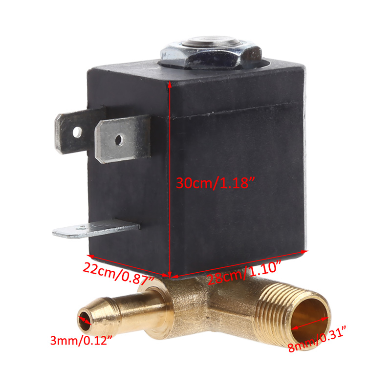 Cannula N/C AC 230V G1/8 Brass Steam Air Generator Water Solenoid Valve Coffee