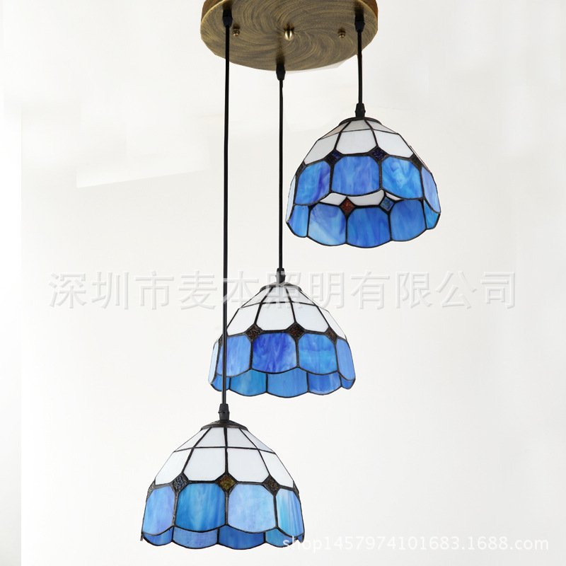 A1 new restaurant is light blue and white Mediterranean Tiffany 3 head droplight simple entrance balcony manufactu Pendant Light 12 inch simple european style modern restaurant droplight tiffany glass lighting mahjong table mediterranean balcony lamp
