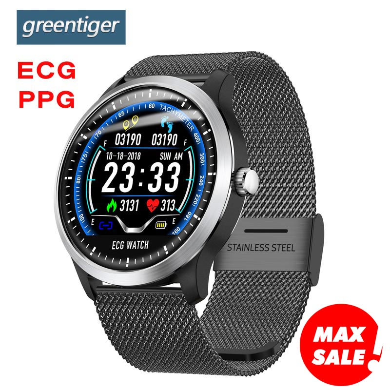Greentiger N58 ECG PPG smart watch heart rate monitor blood pressure smartwatch ecg display Sleep Fitness