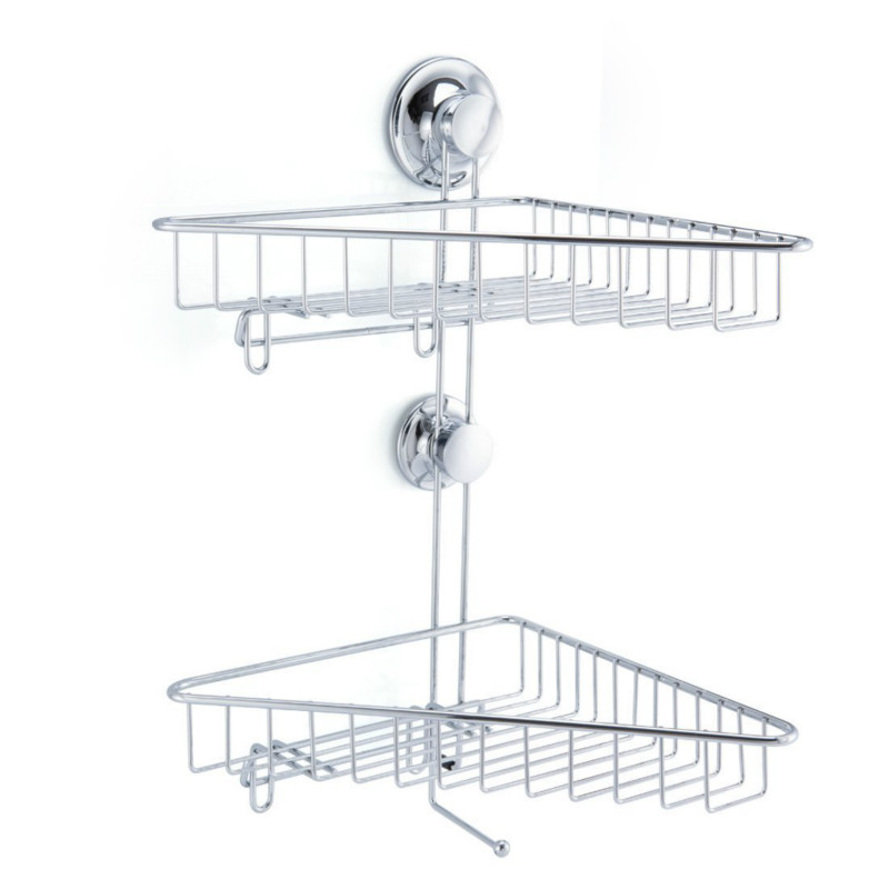 ANHO Bathroom Shower Caddy Basket Suction 2 Layers Wall Mount ...