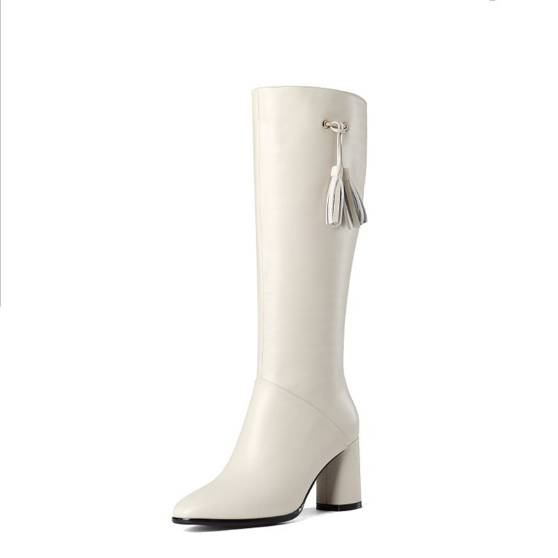 2019 autumn and winter new high-tube plus velvet boots childrens boots pointed high-heeled boots beige 04062019 autumn and winter new high-tube plus velvet boots childrens boots pointed high-heeled boots beige 0406