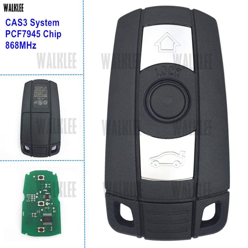 WALKLEE Smart Key 868MHz fit for BMW CAS3 System with PCF7945 Chip Car Keyless Entry Remote