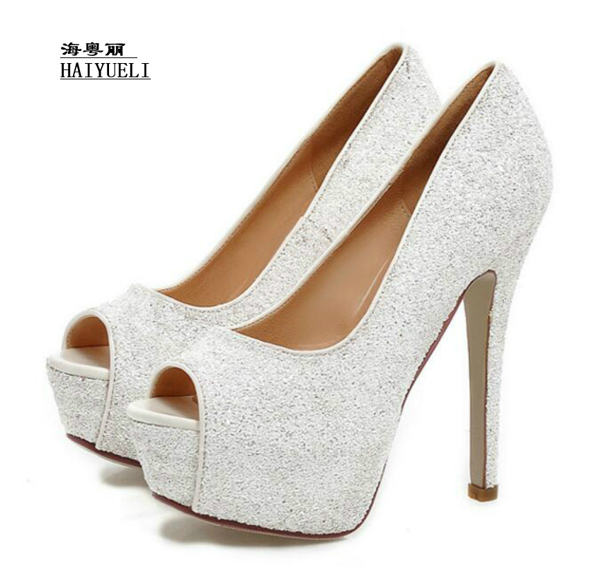 Top Product Women Shoes Fashion Sexy Wedding Shoe Sequins Nightclub Waterproof Taiwan Fine with Ultra-high with Fish Mouth Shoes europe and super high heels 14cm fashion shoes waterproof fish head sexy nightclub fine with plaid shoes