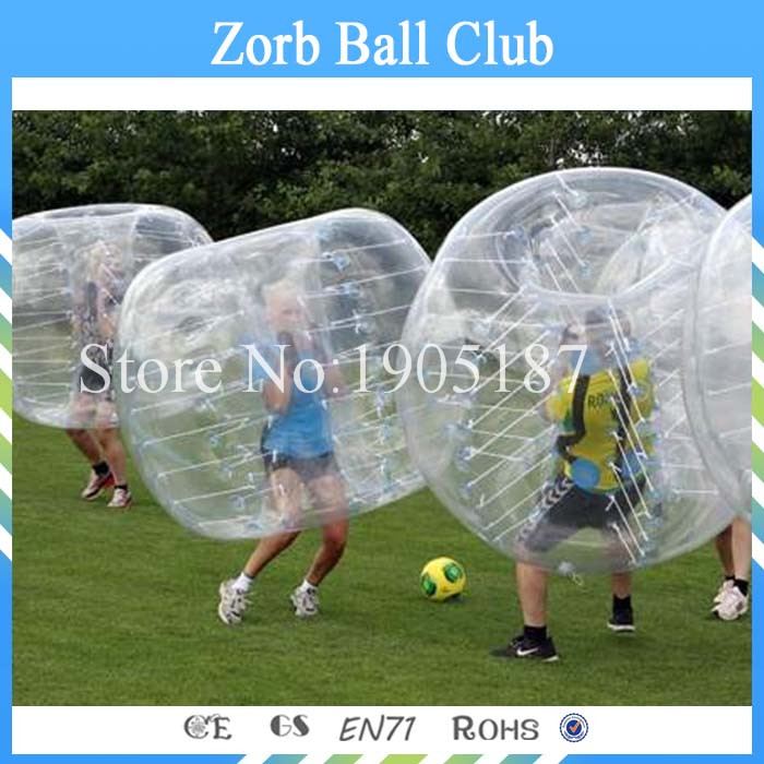 Free Shipping 0.8mm PVC Human Bubble Soccer Half Blue Half Clear Loopy Ball Sale 1.5m 5ft Diameter Kids Zorb Soccer Balls