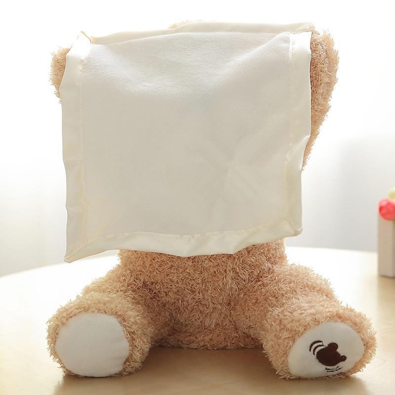 30cm Peek A Boo Teddy Bear Play Hide Seek Lovely Cartoon Stuffed Kids Birthday Xmas Gift Cute Electric Music Bear Plush Toy
