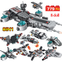 The Shield Aircraft Carriers Super Heroes Mini Space Ship Iron Man Figures Blocks Bricks Toys For Boys 8 in 1