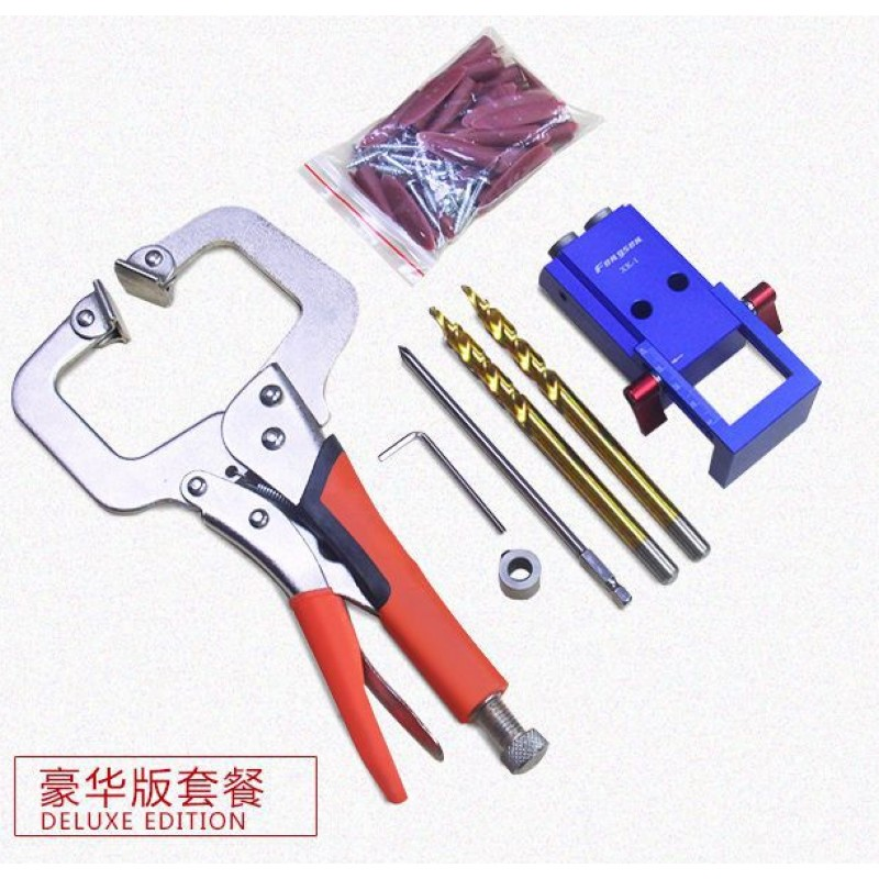 Woodworking Pocket Hole Jig Kit 9 5mm Step Drill Bit Hole woodworking inclined hole Device 11