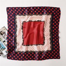 Womens Square Silk Scarf Fashion Summer Shawls and Wraps Dot Print Small Office Foulard Headband Handkerchief 70*70CM