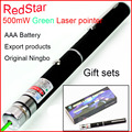 [RedStar] 500mw green Starry laser pointer AAA 7# Battery Red laser pen flashlight export Gift set retail packing teacher pen